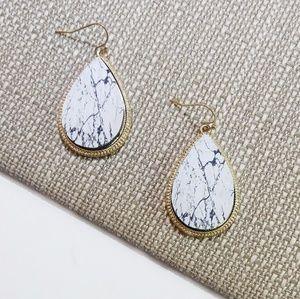 White & Black Wooden Earrings